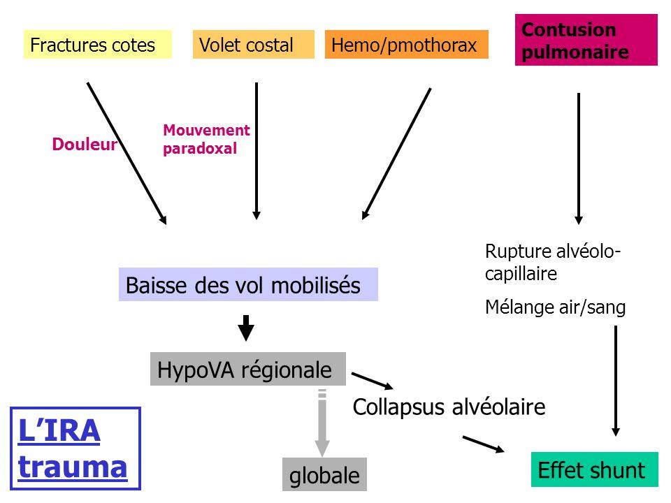 Fractures cotesVolet costalHemo/pmothorax Contusion pulmonaire Baisse des vol mobilisés HypoVA régionale globale Collapsus alvéolaire Rupture alvéolo-