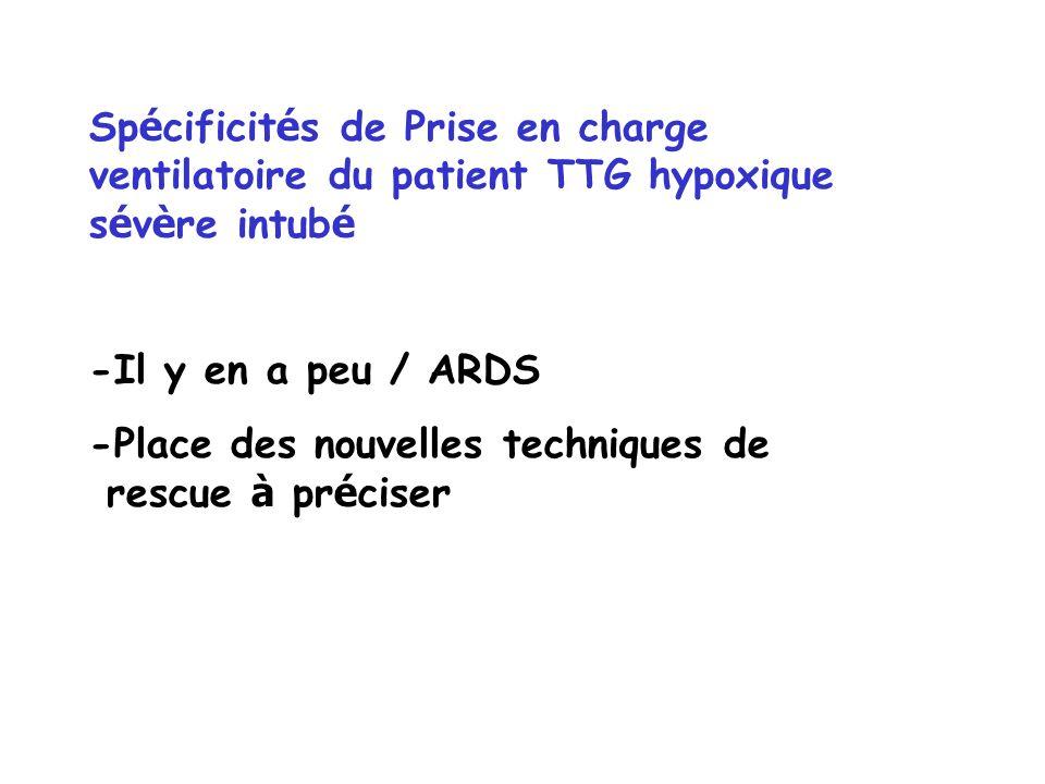 Sp é cificit é s de Prise en charge ventilatoire du patient TTG hypoxique s é v è re intub é -Il y en a peu / ARDS -Place des nouvelles techniques de