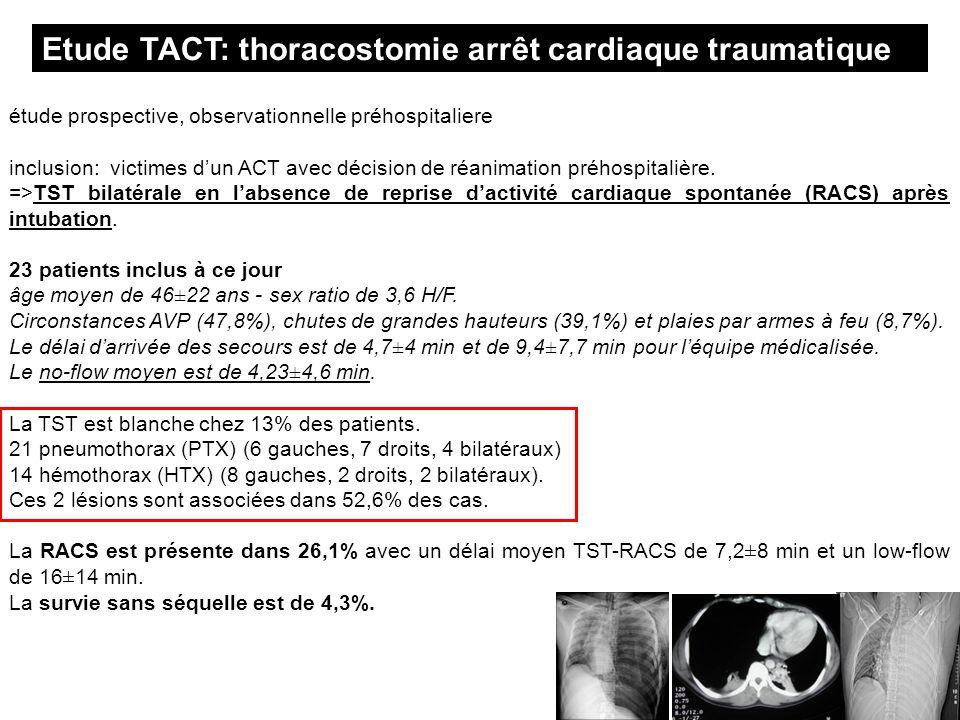 Etude TACT: thoracostomie arrêt cardiaque traumatique étude prospective, observationnelle préhospitaliere inclusion: victimes dun ACT avec décision de