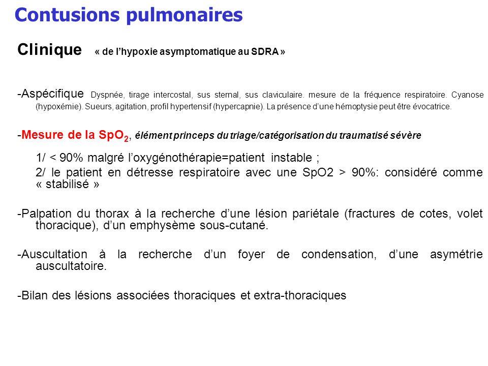 Contusions pulmonaires Clinique « de lhypoxie asymptomatique au SDRA » -Aspécifique Dyspnée, tirage intercostal, sus sternal, sus claviculaire. mesure
