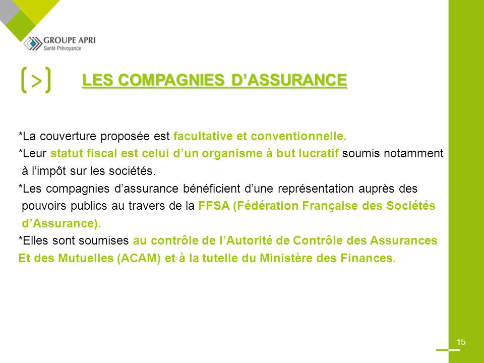 LES COMPAGNIES DASSURANCE *La couverture proposée est facultative et conventionnelle.