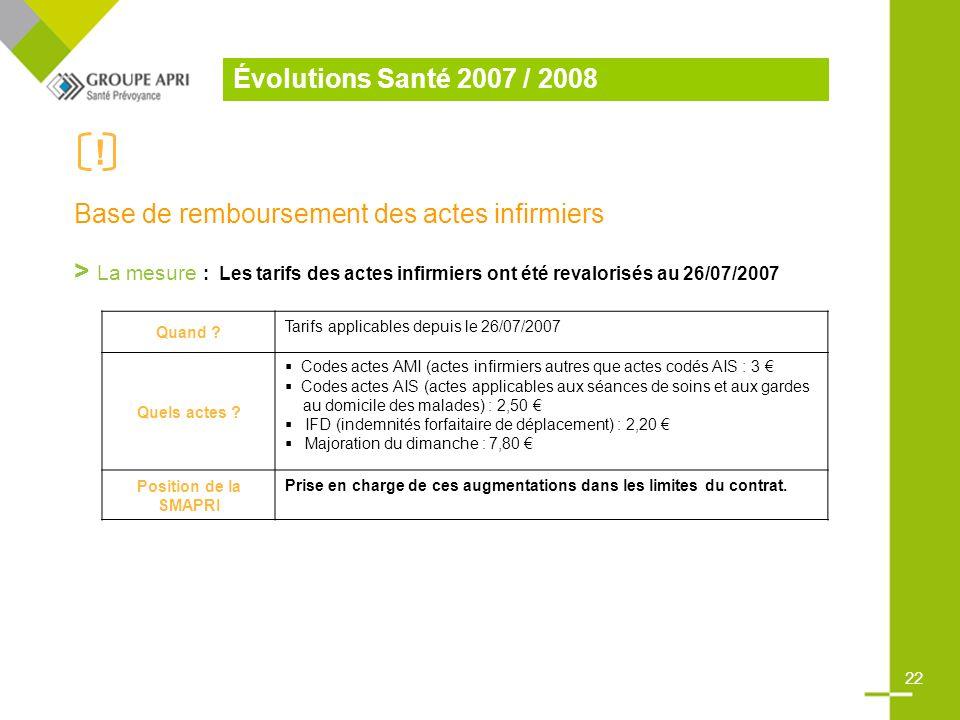 Base de remboursement des actes infirmiers > La mesure : Les tarifs des actes infirmiers ont été revalorisés au 26/07/2007 Quand .