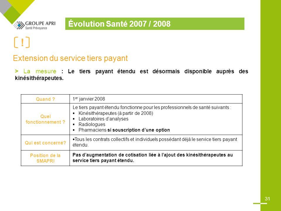 Évolution Santé 2007 / 2008 .