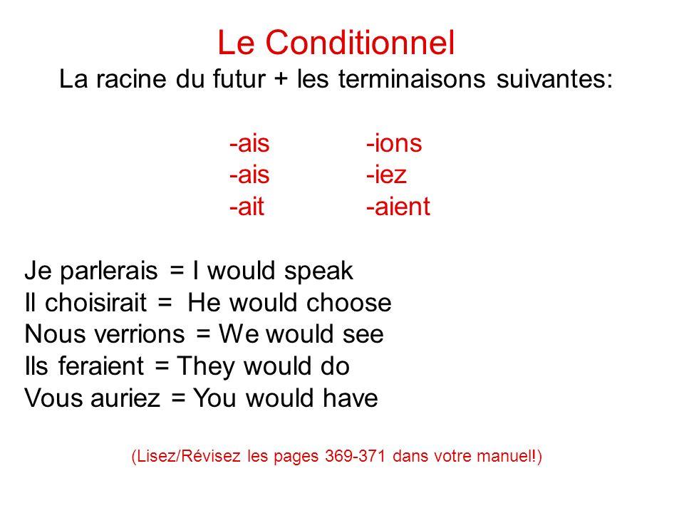 Le Conditionnel La racine du futur + les terminaisons suivantes: -ais-ions -ais-iez -ait-aient Je parlerais = I would speak Il choisirait = He would c