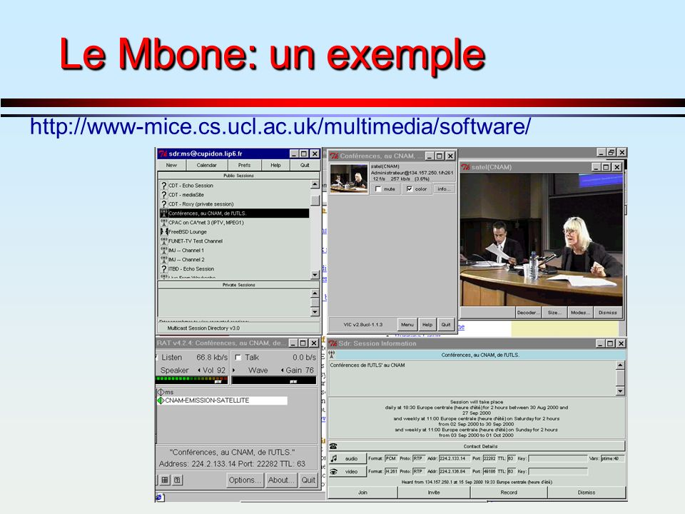 -114- Le Mbone: un exemple http://www-mice.cs.ucl.ac.uk/multimedia/software/