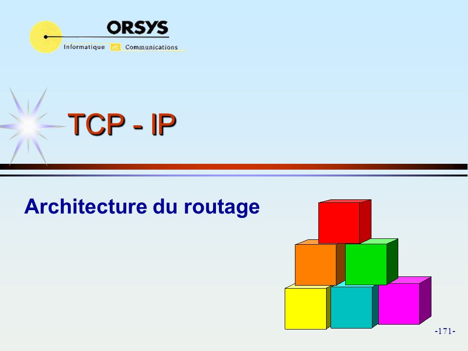 -171- TCP - IP Architecture du routage