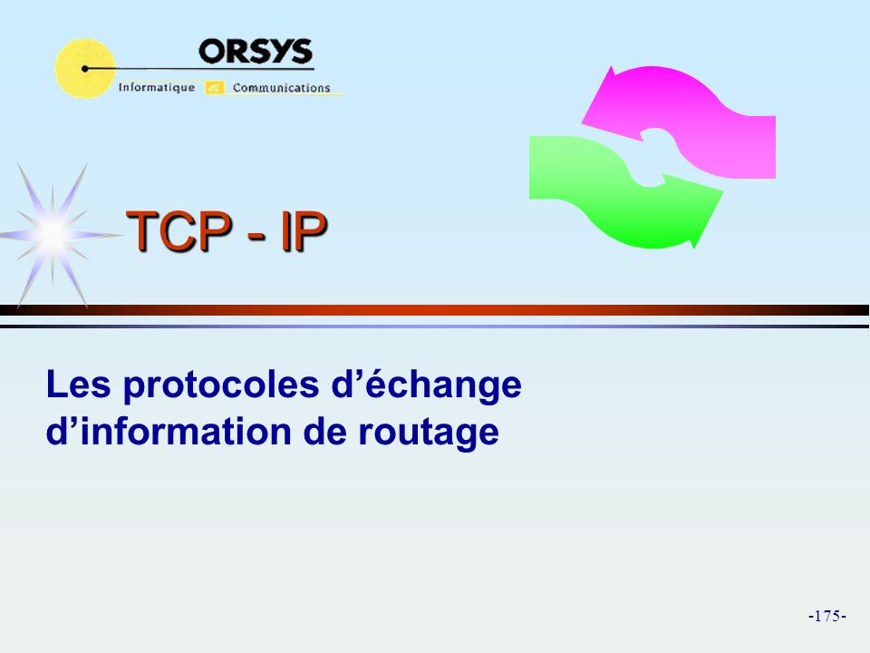 -175- TCP - IP Les protocoles déchange dinformation de routage
