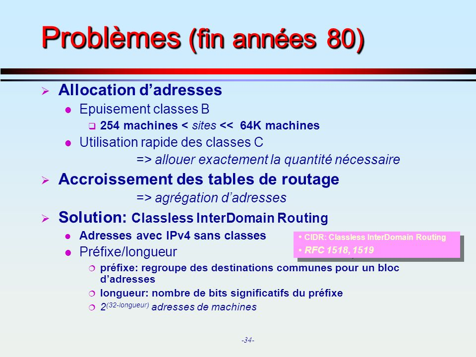 -34- Problèmes (fin années 80) Allocation dadresses l Epuisement classes B 254 machines < sites << 64K machines l Utilisation rapide des classes C =>