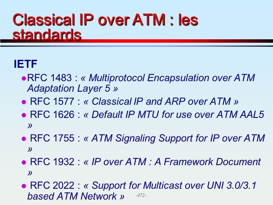 -372- Classical IP over ATM : les standards IETF l RFC 1483 : « Multiprotocol Encapsulation over ATM Adaptation Layer 5 » l RFC 1577 : « Classical IP