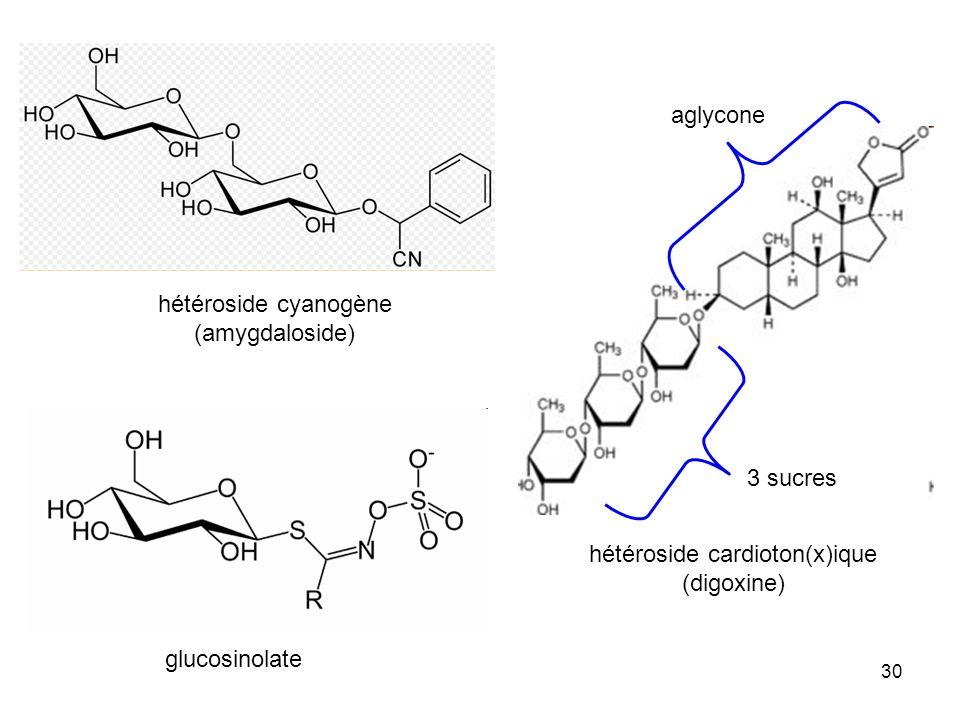 30 hétéroside cyanogène (amygdaloside) glucosinolate hétéroside cardioton(x)ique (digoxine) 3 sucres aglycone