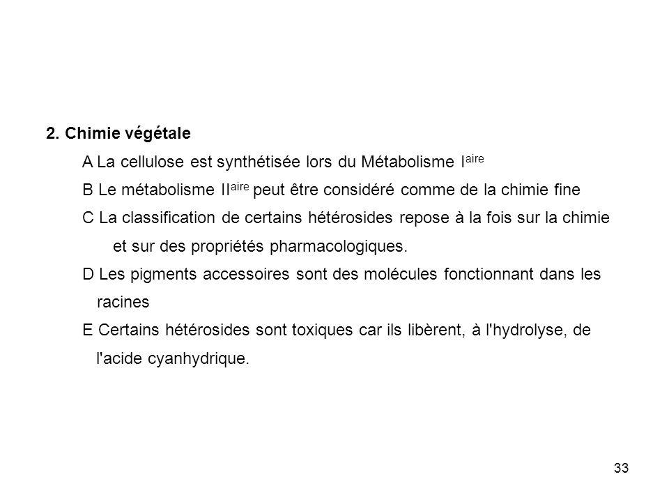 33 2. Chimie végétale A La cellulose est synthétisée lors du Métabolisme I aire B Le métabolisme II aire peut être considéré comme de la chimie fine C