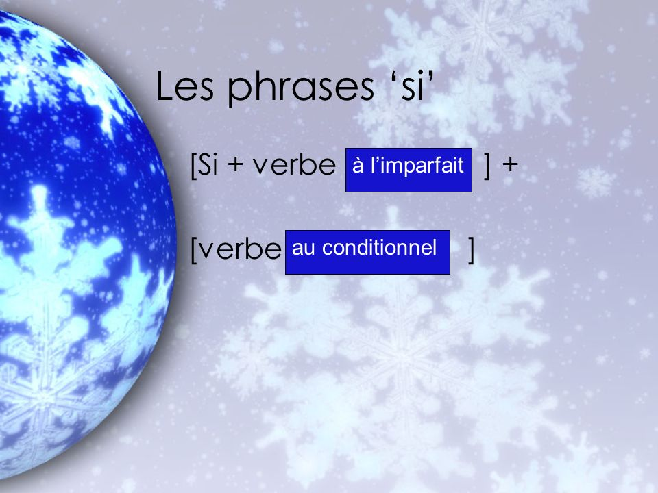 Les phrases si [Si + verbe ] + [verbe ] à limparfait au conditionnel