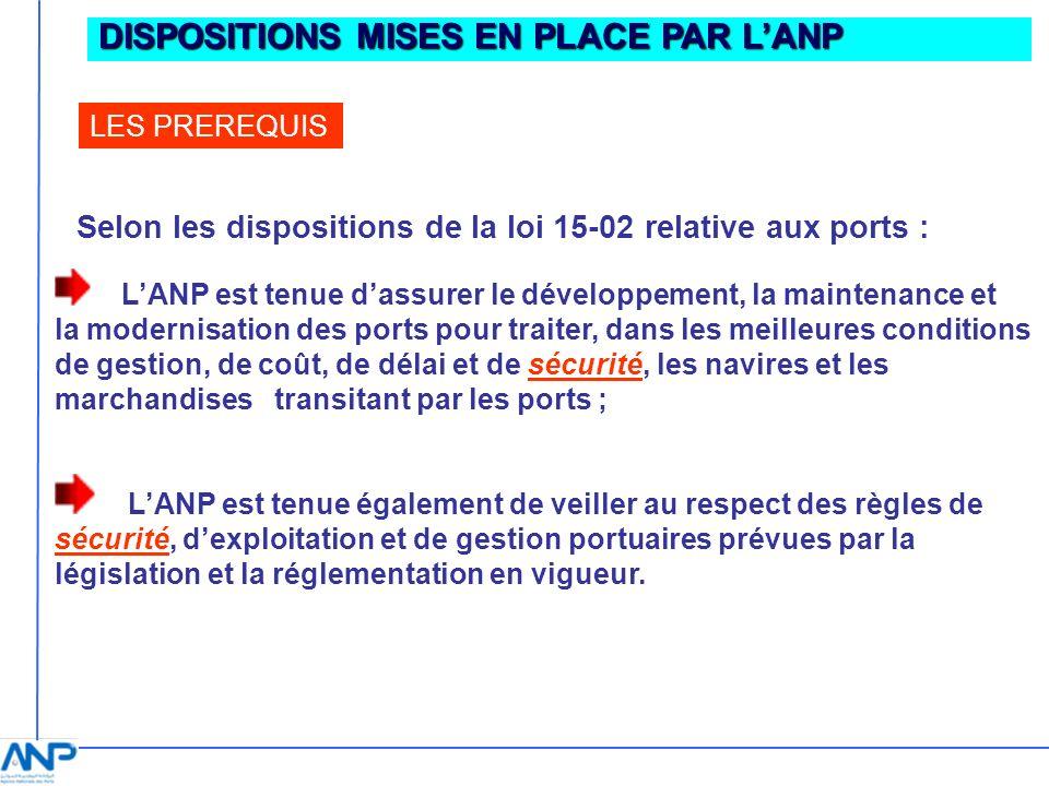DISPOSITIONS MISES EN PLACE PAR LANP LES PREREQUIS Selon les dispositions de la loi 15-02 relative aux ports : LANP est tenue dassurer le développemen