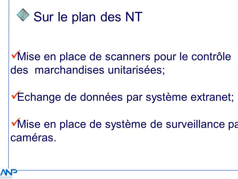 Sur le plan des NT Mise en place de scanners pour le contrôle des marchandises unitarisées; Echange de données par système extranet; Mise en place de