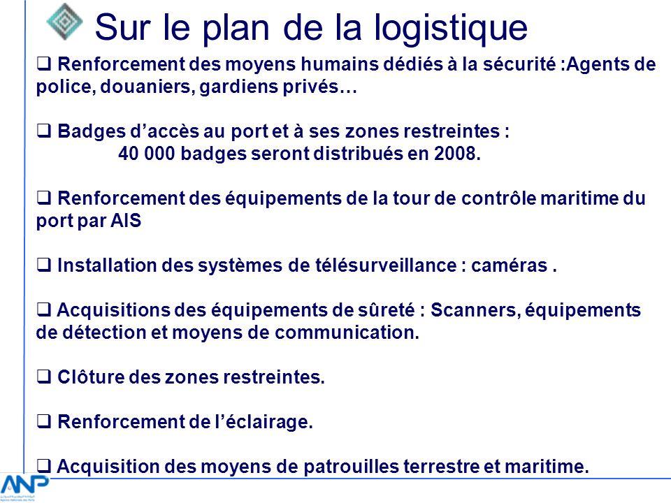 Sur le plan de la logistique Renforcement des moyens humains dédiés à la sécurité :Agents de police, douaniers, gardiens privés… Badges daccès au port