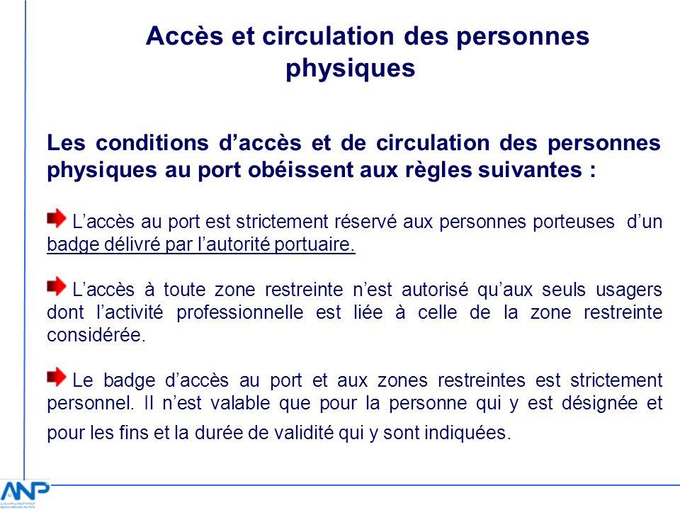 Accès et circulation des personnes physiques Les conditions daccès et de circulation des personnes physiques au port obéissent aux règles suivantes :