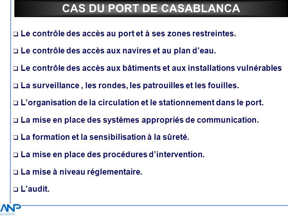 Le contrôle des accès au port et à ses zones restreintes. Le contrôle des accès aux navires et au plan deau. Le contrôle des accès aux bâtiments et au