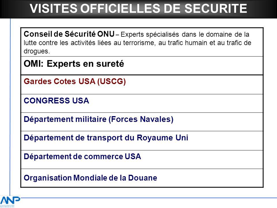 VISITES OFFICIELLES DE SECURITE Conseil de Sécurité ONU – Experts spécialisés dans le domaine de la lutte contre les activités liées au terrorisme, au