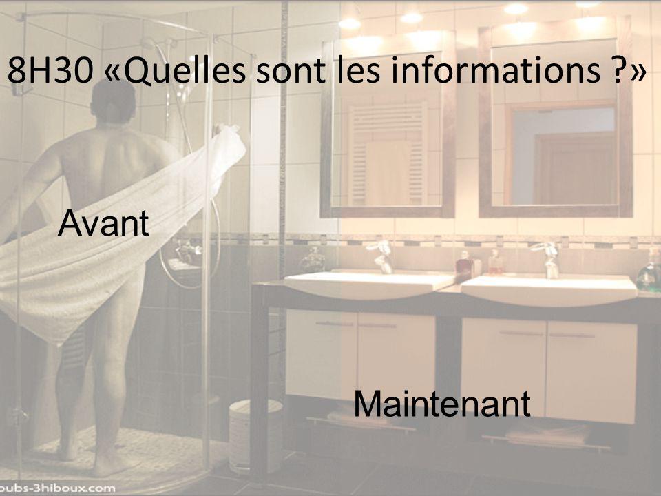 8H30 «Quelles sont les informations ?» Avant Maintenant