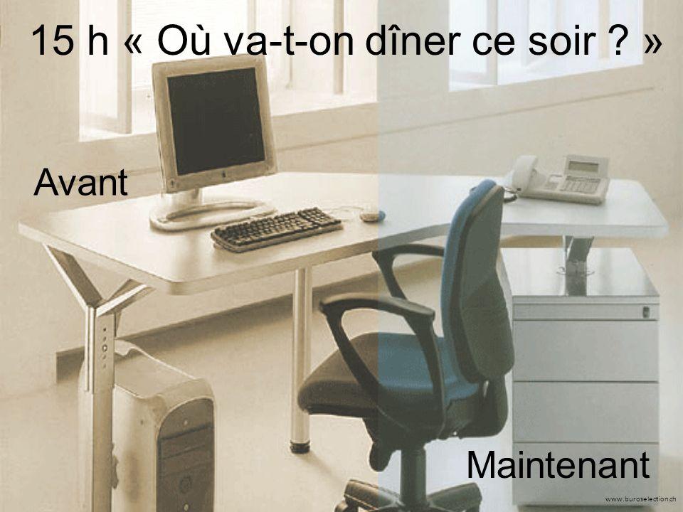 www.buroselection.ch 15 h « Où va-t-on dîner ce soir » Avant Maintenant