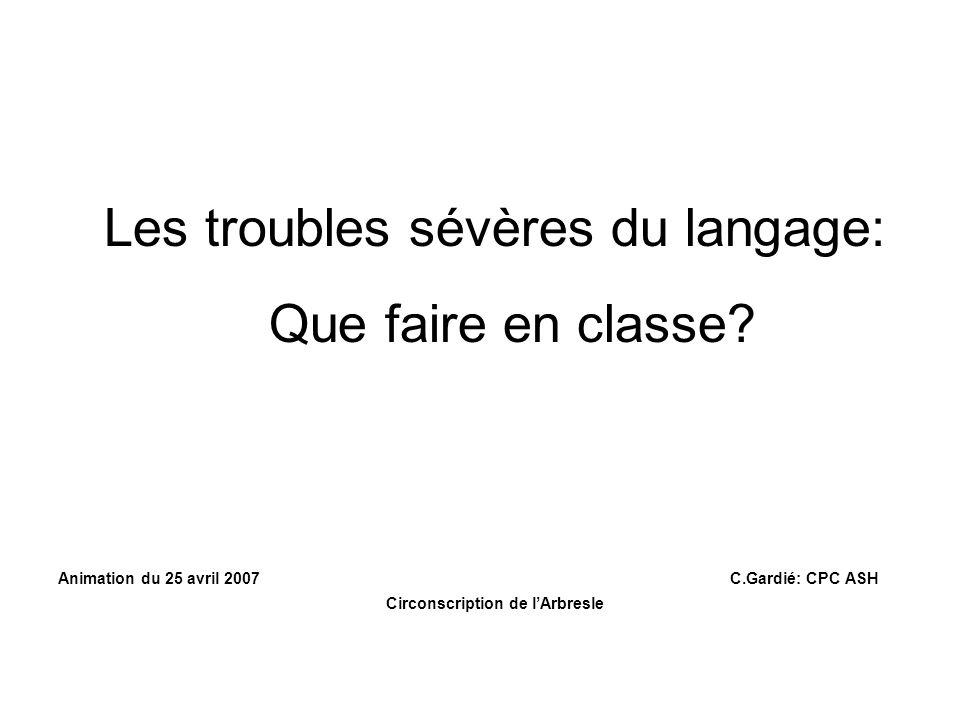 Les troubles sévères du langage: Que faire en classe.