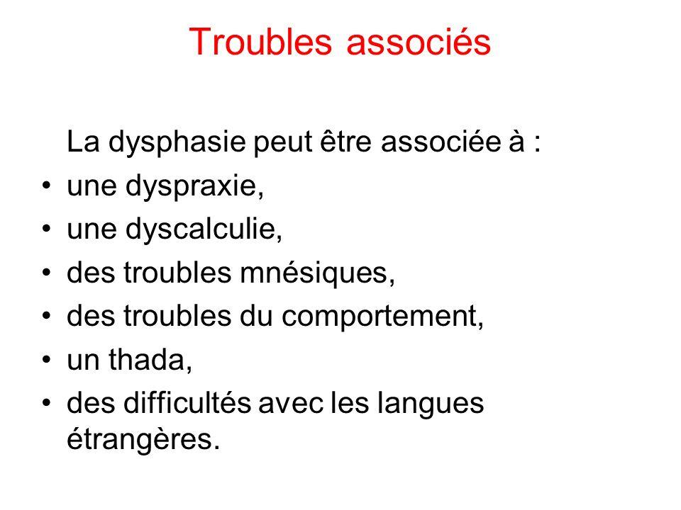 Troubles associés La dysphasie peut être associée à : une dyspraxie, une dyscalculie, des troubles mnésiques, des troubles du comportement, un thada, des difficultés avec les langues étrangères.