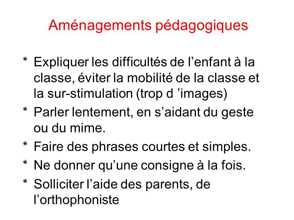 Aménagements pédagogiques *Expliquer les difficultés de lenfant à la classe, éviter la mobilité de la classe et la sur-stimulation (trop d images) *Parler lentement, en saidant du geste ou du mime.
