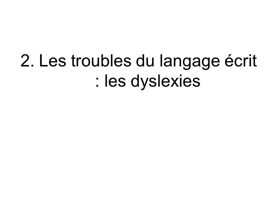 2.Les troubles du langage écrit : les dyslexies
