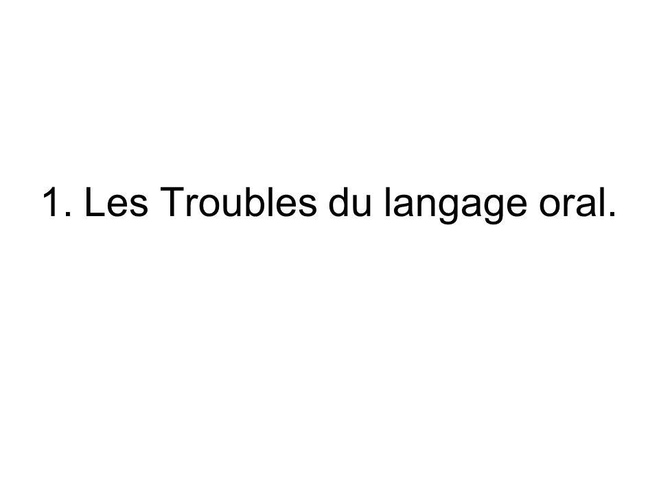 1.Les Troubles du langage oral.