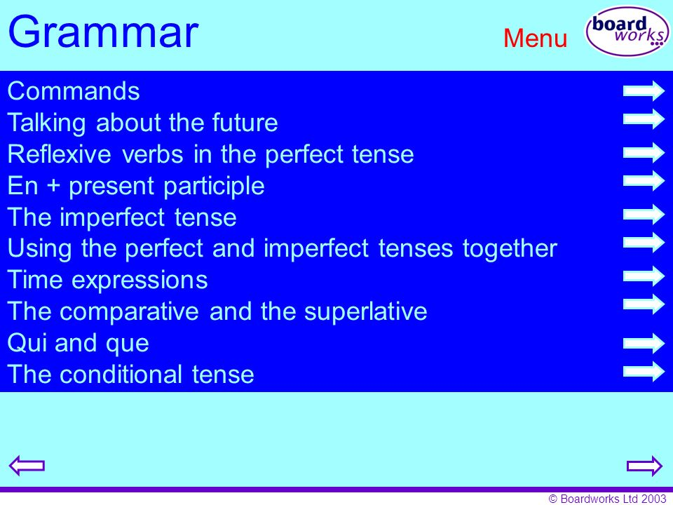 © Boardworks Ltd 2003 Grammar Menu Commands Talking about the future Reflexive verbs in the perfect tense En + present participle The imperfect tense