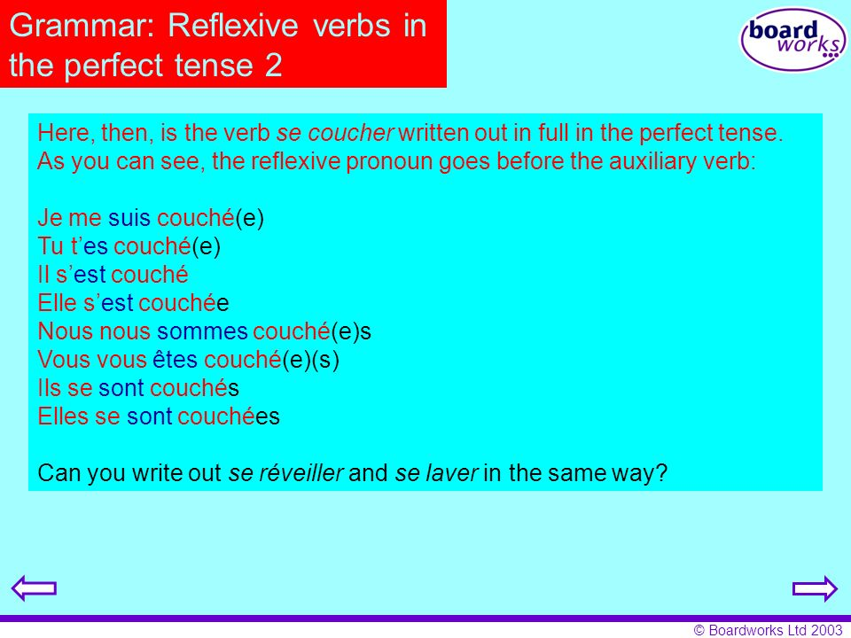 © Boardworks Ltd 2003 Grammar: Reflexive verbs in the perfect tense 2 Here, then, is the verb se coucher written out in full in the perfect tense. As