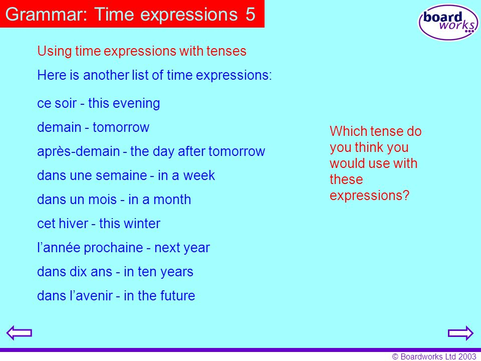 © Boardworks Ltd 2003 Grammar: Time expressions 5 Using time expressions with tenses Here is another list of time expressions: Which tense do you thin