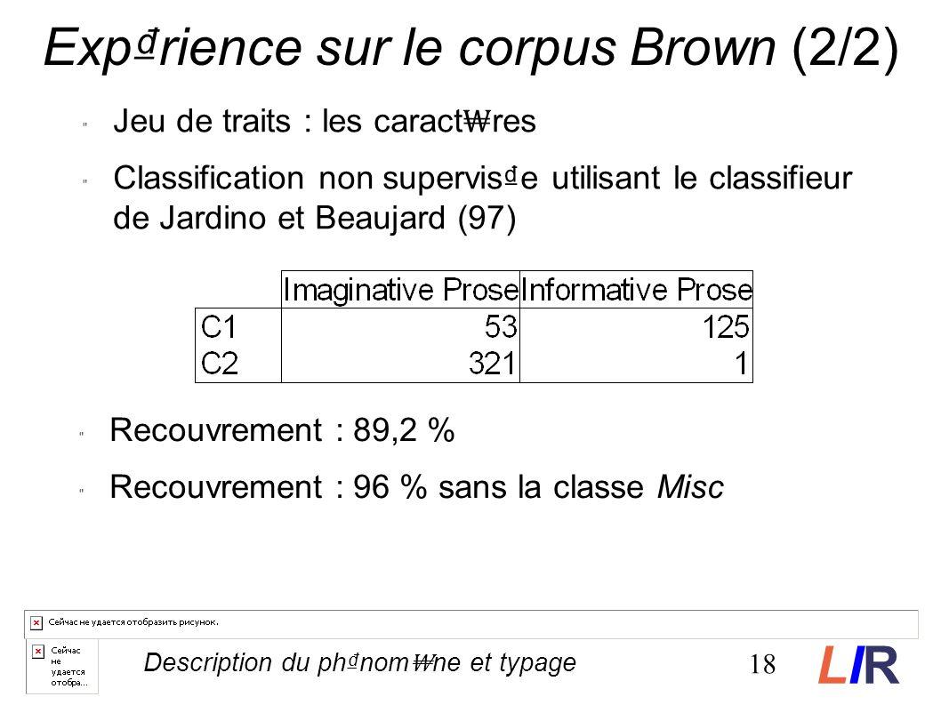 Jeu de traits : les caract res Classification non supervise utilisant le classifieur de Jardino et Beaujard (97) Recouvrement : 89,2 % Recouvrement : 96 % sans la classe Misc 18 Description du phnom ne et typage Exprience sur le corpus Brown (2/2) LIRLIR