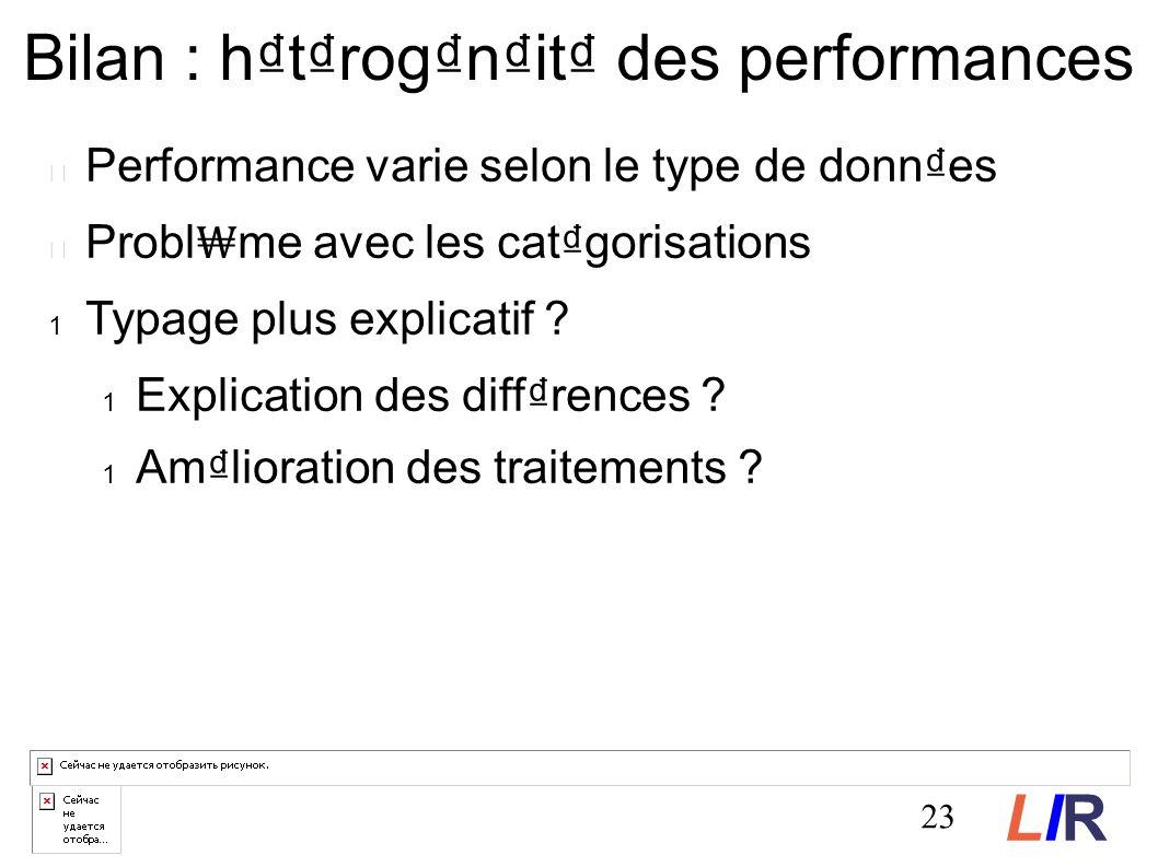 Bilan : htrognit des performances Performance varie selon le type de donnes Probl me avec les catgorisations Typage plus explicatif .