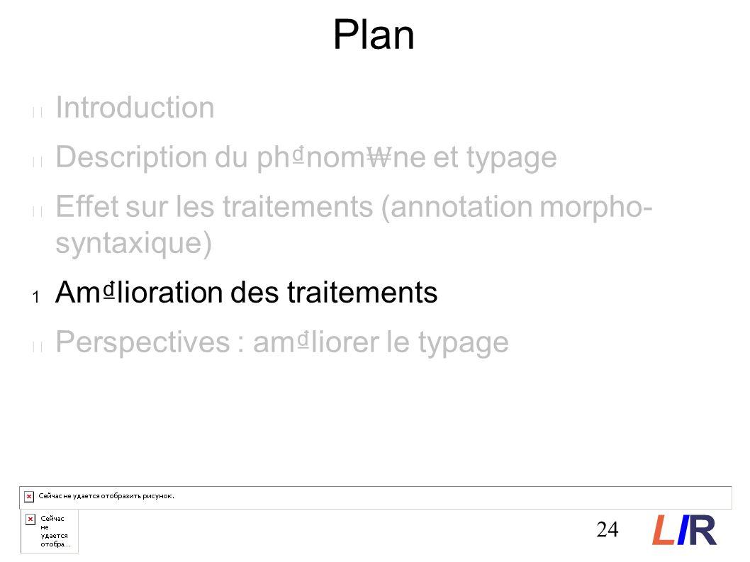 24 Plan Introduction Description du phnom ne et typage Effet sur les traitements (annotation morpho- syntaxique) Amlioration des traitements Perspectives : amliorer le typage LIRLIR