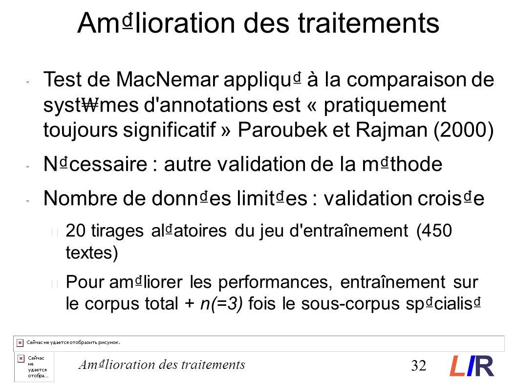 Amlioration des traitements Test de MacNemar appliqu à la comparaison de syst mes d annotations est « pratiquement toujours significatif » Paroubek et Rajman (2000) Ncessaire : autre validation de la mthode Nombre de donnes limites : validation croise 20 tirages alatoires du jeu d entraînement (450 textes) Pour amliorer les performances, entraînement sur le corpus total + n(=3) fois le sous-corpus spcialis 32 Amlioration des traitements LIRLIR