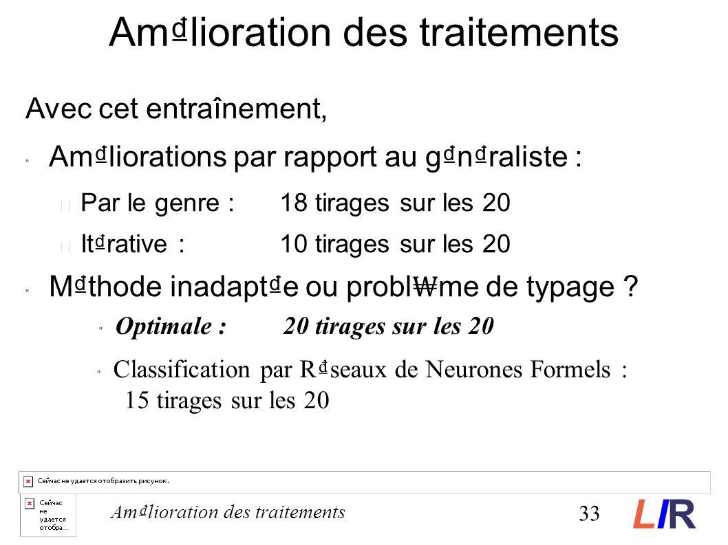 Avec cet entraînement, Amliorations par rapport au gnraliste : Par le genre : 18 tirages sur les 20 Itrative : 10 tirages sur les 20 Mthode inadapte ou probl me de typage .