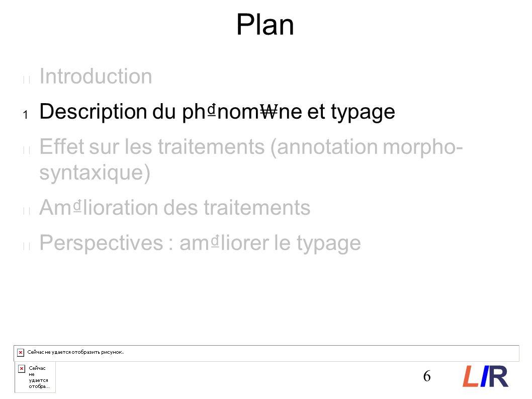 6 Plan Introduction Description du phnom ne et typage Effet sur les traitements (annotation morpho- syntaxique) Amlioration des traitements Perspectives : amliorer le typage LIRLIR