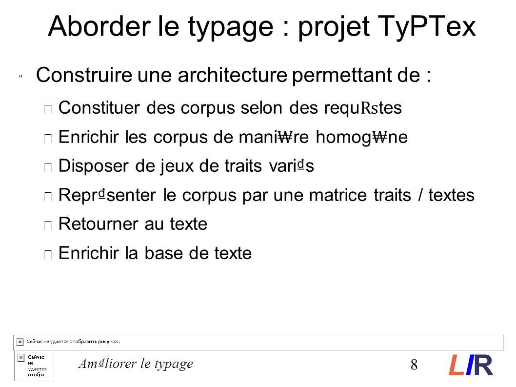 Aborder le typage : projet TyPTex Construire une architecture permettant de : Constituer des corpus selon des requ tes Enrichir les corpus de mani re homog ne Disposer de jeux de traits varis Reprsenter le corpus par une matrice traits / textes Retourner au texte Enrichir la base de texte 8 Amliorer le typage LIRLIR