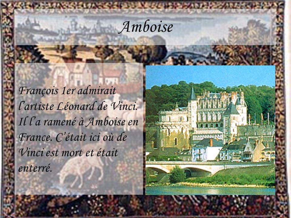Amboise François 1er admirait lartiste Léonard de Vinci. Il la ramené à Amboise en France. Cétait ici où de Vinci est mort et était enterré.