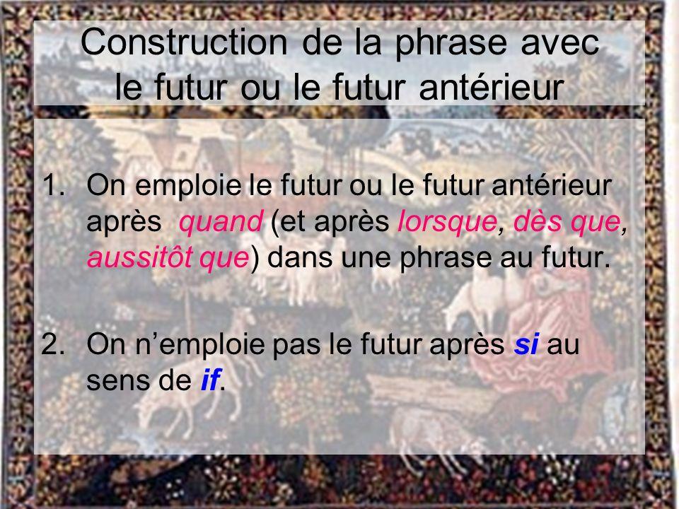 Construction de la phrase avec le futur ou le futur antérieur 1.On emploie le futur ou le futur antérieur après quand (et après lorsque, dès que, auss