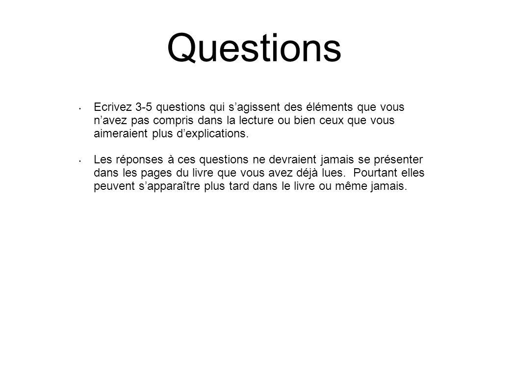 Questions Ecrivez 3-5 questions qui sagissent des éléments que vous navez pas compris dans la lecture ou bien ceux que vous aimeraient plus dexplicati