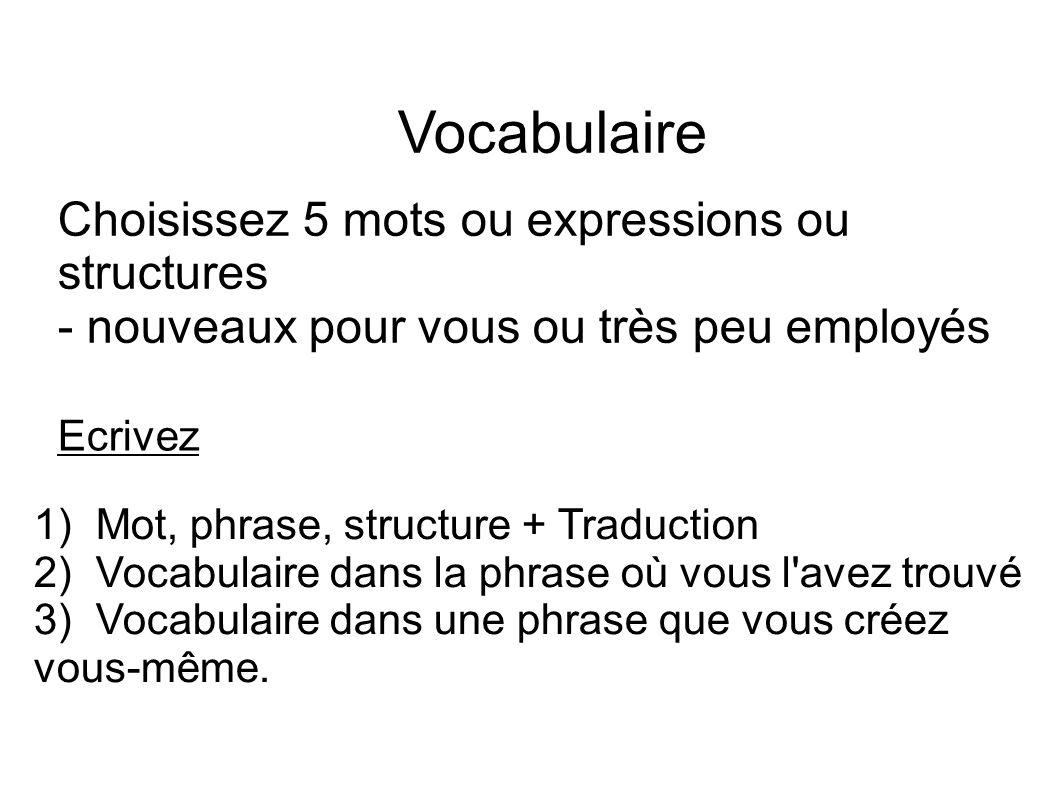 Vocabulaire Choisissez 5 mots ou expressions ou structures - nouveaux pour vous ou très peu employés 1) Mot, phrase, structure + Traduction 2) Vocabul