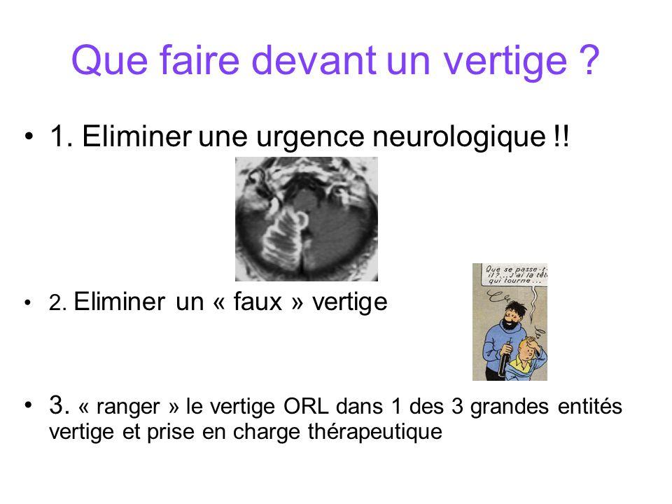 Que faire devant un vertige .1. Eliminer une urgence neurologique !.