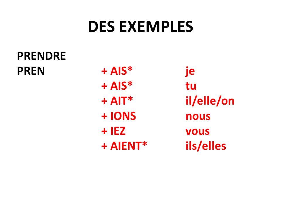 DES EXEMPLES PRENDRE PREN+ AIS*je + AIS*tu + AIT*il/elle/on + IONSnous + IEZvous + AIENT*ils/elles