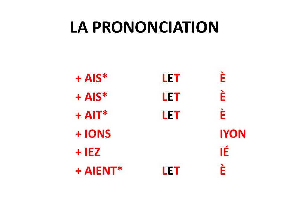 LA PRONONCIATION + AIS*LETÈ + AIT*LETÈ + IONSIYON + IEZIÉ + AIENT*LETÈ
