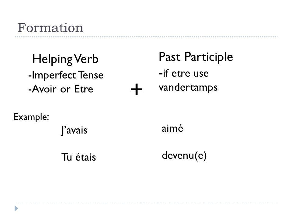 Formation + Helping Verb -Imperfect Tense -Avoir or Etre Example : Javais Tu étais Past Participle - if etre use vandertamps aimé devenu(e)