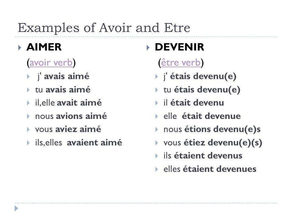 Examples of Avoir and Etre AIMER (avoir verb)avoir verb j' avais aimé tu avais aimé il,elle avait aimé nous avions aimé vous aviez aimé ils,elles avai