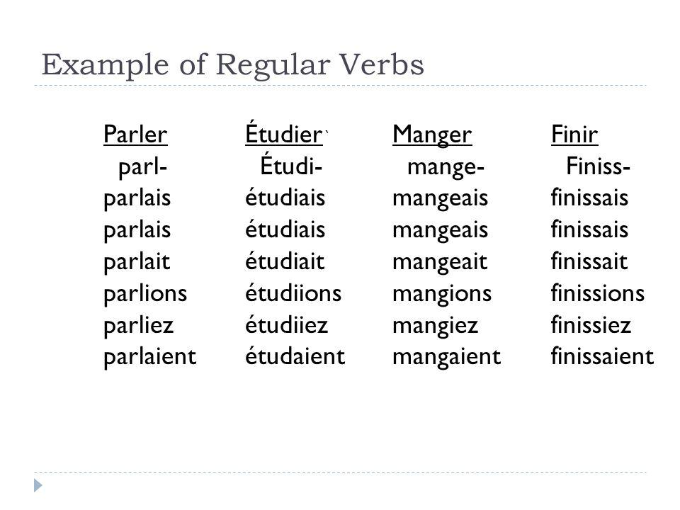 Example of Regular Verbs ` Manger mange- mangeais mangeait mangions mangiez mangaient Étudier Étudi- étudiais étudiait étudiions étudiiez étudaient Fi