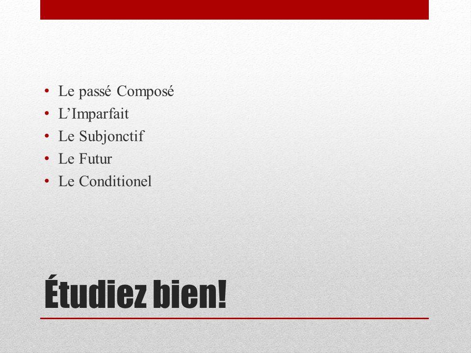 Étudiez bien! Le passé Composé LImparfait Le Subjonctif Le Futur Le Conditionel